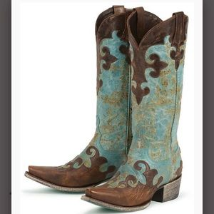 LANE cowboy boots turquoise and brown size 8